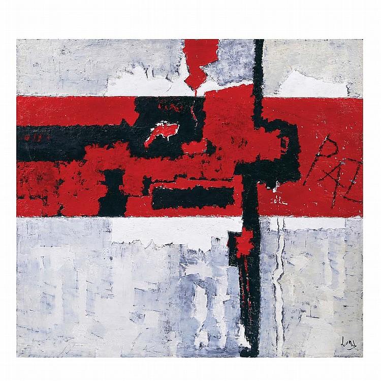 ANTONIO RODRÍGUEZ LUNA, Protesta, Firmado. Óleo sobre lino, 90 x 100.5 cm, Con certificado.