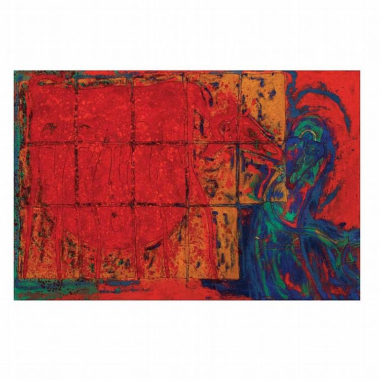 ROLANDO ROJAS, Sin título, 2005, Firmado. Óleo y tierra sobre lino, 100 x 150 cm, Con certificado.