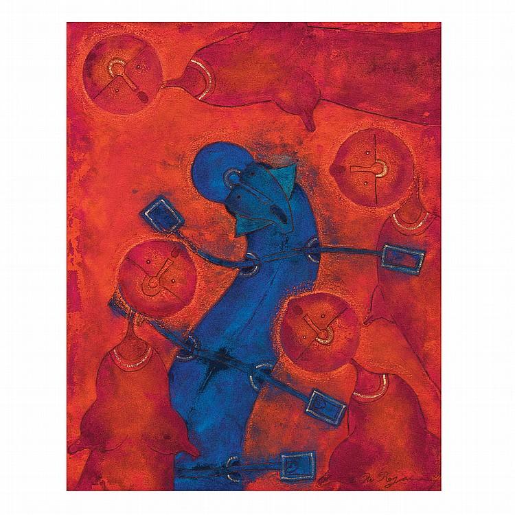 ROLANDO ROJAS, Entre damas, Firmado. Óleo y arena sobre tela, 100 x 80 cm, Con certificado.
