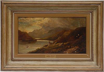 Arthur Gilbert (1819-1895) Escuela inglesa.Loch Scavaig. Óleo sobre lienzo. 24 x 44 cm. Desprendimientos  de la capa pictórica.