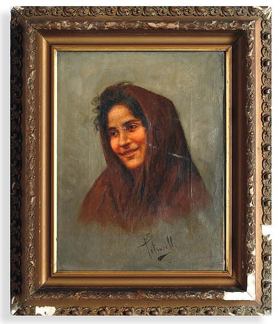 Arturo Petrocelli (1856 - 1926). Retrato de mujer. Origen italiano. Firmado. Óleo sobre lienzo. 26 x 20 cm.