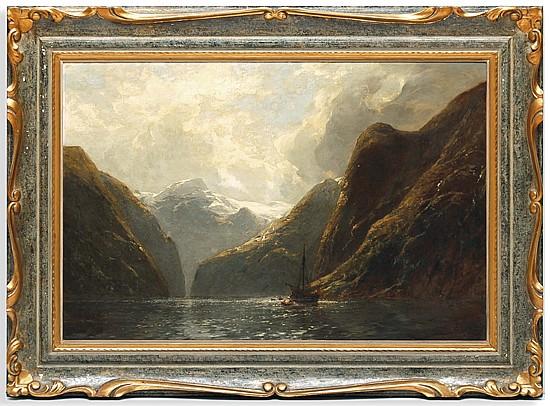 Carl August H. Oesterley (1839 - 1930). Paisaje montañoso con lago. Esc. alemana. Firmado y fechado 1887. Óleo sobre lienzo. 59 x 89 cm