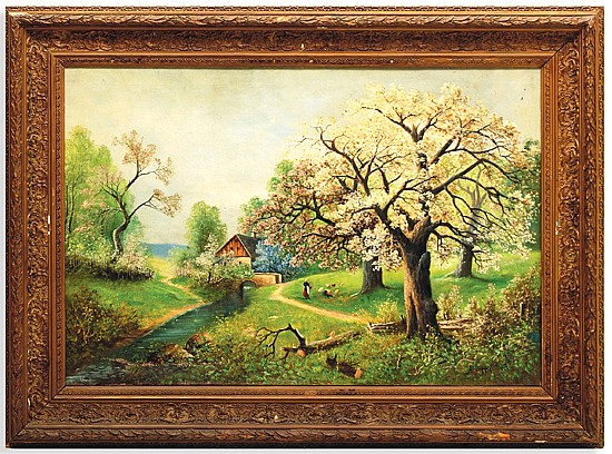 Alwin Arnegger (1883 - 1916). Paisaje campirano (alimentando gallinas). Escuela austriaca. Firmado. Óleo sobre lienzo. 79 x 117 cm.