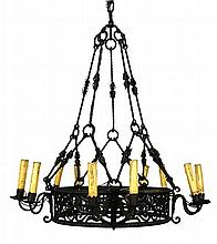 A GOTHIC REVIVAL WROUGHT IRON TEN-LIGHT PENDANT CHANDELIER