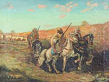 ATTRIBUTED TO ADOLF SCHREYER, (German, 1828-1899), Arabian Horseman, Oil on canvas, H 16 x W 21 inches