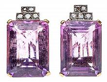 A PAIR OF ART DECO STYLE 14 KARAT GOLD, AMETHYST, AND DIAMOND EARRINGS