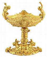A CONTINENTAL STYLE GILT BRONZE FIGURAL CENTER BOWL