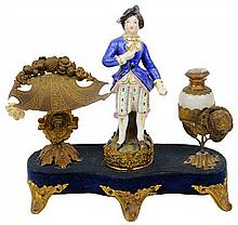 A CONTINENTAL PORCELAIN AND GILT METAL MOUNTED INK STAND