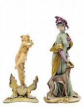 A GIUSEPPE CAPPE ITALIAN PORCELAIN FIGURE OF A LADY WITH GREYHOUND