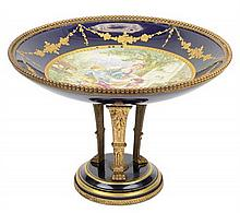 A CLIGNANCOURT PORCELAIN GILT BRONZE MOUNTED COMPOTE