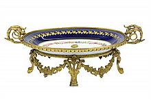 A SEVRES-STYLE PORCELAIN ORMOLU-MOUNTED CENTER BOWL