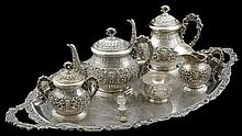 A SPANISH SEVEN-PIECE SILVER COFFEE AND TEA SERVICE