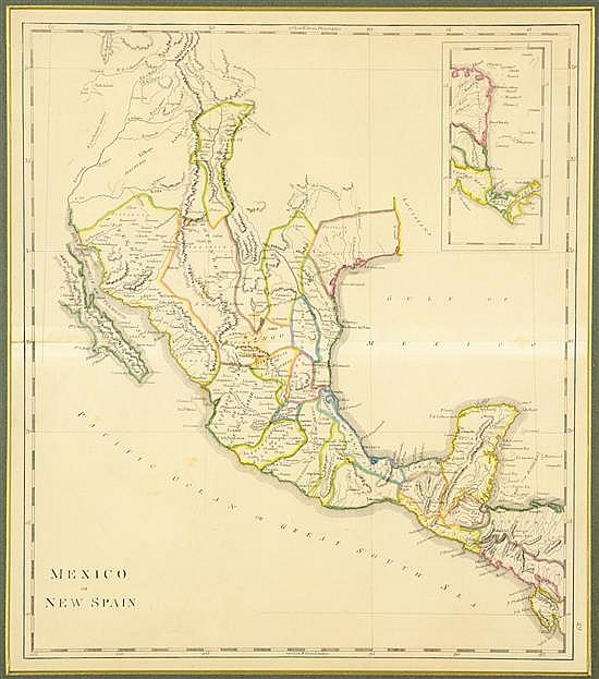 MATHEW CAREY, (1760-1839), Mexico or New Spain, Hand colored engraved map, H 18 x W 16 inches