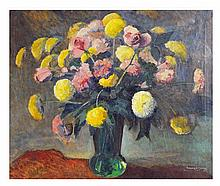 WALTER ALEXANDER BAILEY, American, (1894-1989)., Still Life with Flowers, Oil on canvas, 24½ x 29½ inches (62.2 x 74.9 cm).