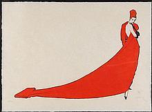 RENE GRUAU, (French, 1909-2004), La Drape Rouge, Lithograph AP IV/XLV, Frame Size: 46 x 38 inches (116.8 x 96.5 cm).