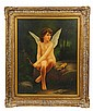 AN OIL ON CANVAS PAINTING OF YOUNG CUPID BY K. HUNCAT