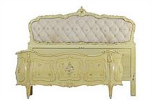 A VENETIAN STYLE PAINTED AND UPHOLSTERED BED