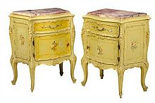 A PAIR OF VENETIAN STYLE PAINTED BEDSIDE CABINETS