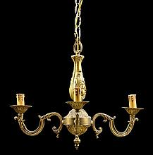 AN ITALIAN GILT METAL THREE-LIGHT CHANDELIER