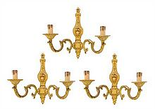 THREE ITALIAN GILT METAL TWO-LIGHT SCONCES