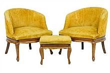 A PAIR OF ITALIAN BARRELBACK CHAIRS AND OTTOMAN