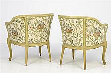 A PAIR OF VENETIAN STYLE PAINTED BARRELBACK ARMCHAIRS
