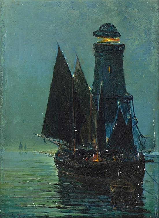 VASSILIOS HATZIS, (Greek, 1870-1915), Nocturnal Maritime Scene, Oil on board, H 6¼ x W 4¾ inches.