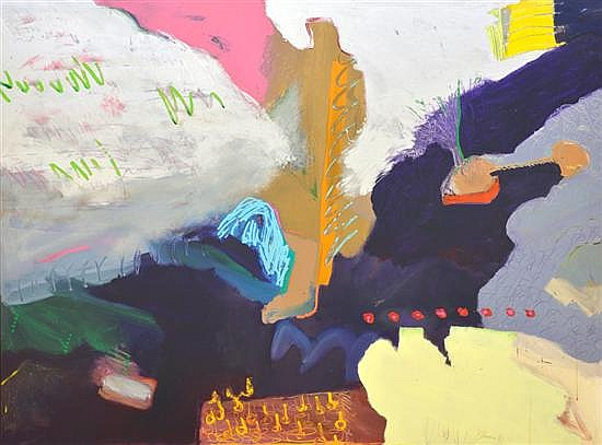 GEORGE KLEIMAN, (American, born 1946), Untitled, 1980, Acrylic on canvas, H 70 x W 93¼ inches.
