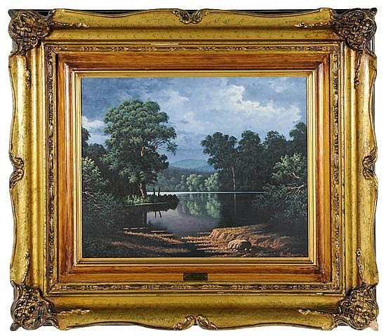 MIGUEL A OROPEZA, (Mexican, current), Landscape, Oil on canvas, 15 1/2 x 19 3/4 inches.