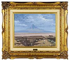 MIGUEL A OROPEZA, (Mexican, current), Landscape, Oil on canvas, 15 3/4 x 19 1/2 inches.