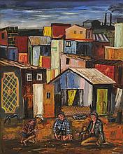 ANTONIO BERNI, (Argentinean, 1905-1981), Juanito y sus Amigos, 1960 Villa Piolin Theme, Tempera on cardboard, H 29½ x W 24 inches