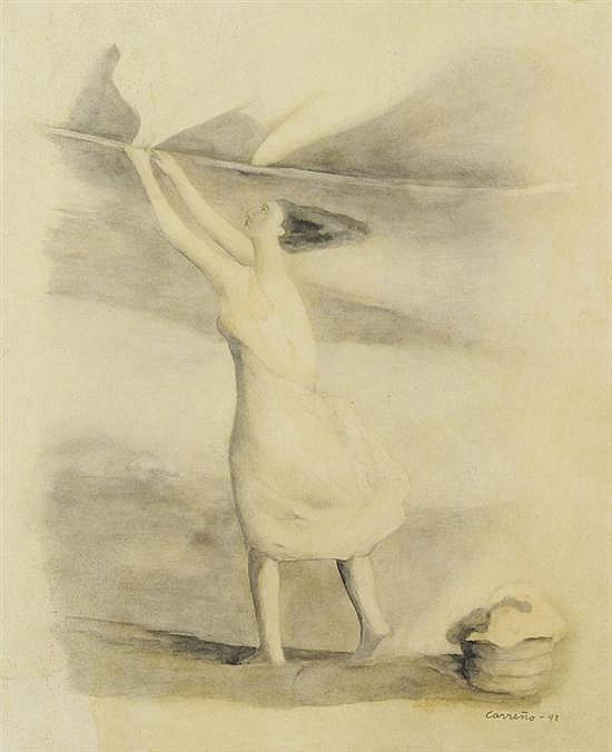 MARIO CARREÑO, (Cuban, 1913-1999), Lavandera, 1941, Watercolor, Ink on paper, H 19½ x W 15½ inches