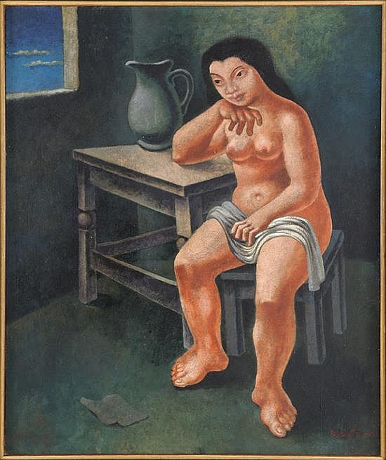 MARIO CARREÑO, (Cuban, 1913-1999), Desnudo de Muchacha, 1942, Oil on canvas, H 32½ x W 27¼ inches