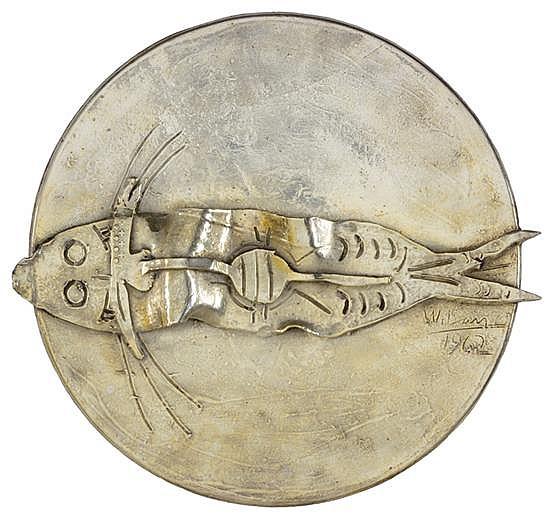 WIFREDO LAM, (Cuban, 1902-1982), Pez, 1962, Silver (800/1000) Fonderia Mariani Italy Mark on verso, H 14¾ x W 15¾ x D 1½ inches