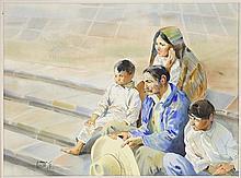 LUIS AMENDOLLA, (Mexican, 1939-2000), La Familia, 1984, Watrecolor on paper, H 22¼ x W 28 inches