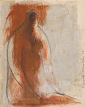 RICARDO MARTÍNEZ, (Mexican 1918-2009), Mujer, 1964, Oil on paper, H 5¾ x W 4½ inches
