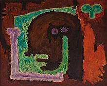 RODOLFO NIETO, (Mexican, 1936-1985), Prometeo en la Ciudad, 1958, Oil on canvas on board, H 16 x W 19½ inches
