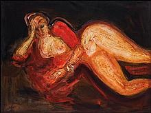 LUIS FILCER, (Mexican, born 1927), Mujer Reclinada, Acrylic on canvas, H 35¾ x W 47¼ inches