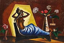 JOSÉ GARCÍA NAREZO, (Mexican, 1922-1994), Mujer Peinándose, 1970, Oil on masonite, H 30¾ x W 44¼ inches