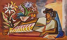 JOSÉ GARCÍA NAREZO, (Mexican, 1922-1994), Reposo, 1960, Oil on masonite, H 28¾ x W 47¼ inches