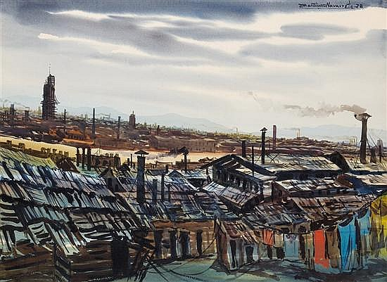 JOAQUÍN MARTÍNEZ NAVARRETE, (Mexican, 1920-1990), Paisaje Industrial, 1978, Watercolor on paper, H 22 x W 30 inches