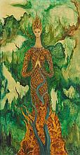 SOFÍA BASSI, (Mexican, 1913-1997), Retrato de Claire, 1968, Oil on masonite, H 25½ x W 13¼ inches