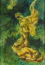 SOFÍA BASSI, (Mexican, 1913-1997), En la Espera, 1972, Oil on masonite, H 12 x W 8½ inches