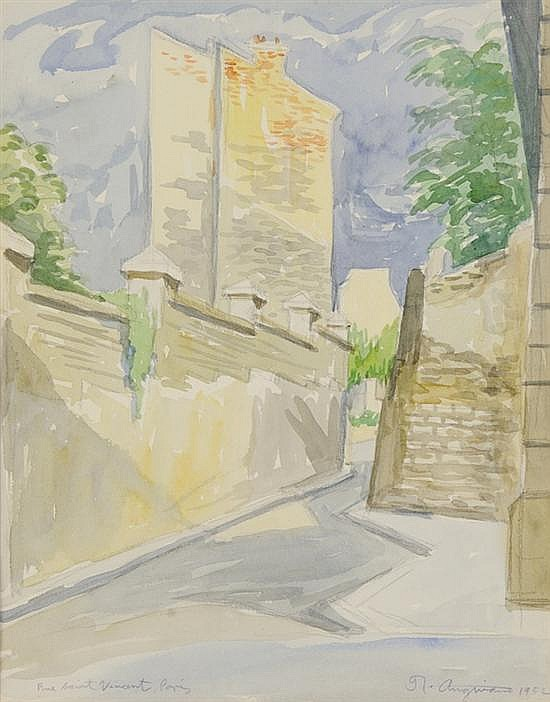 RAUL ANGUIANO, (Mexican, 1915-2006), Rue Saint Vincent, Paris, 1952, Watercolor on paper, H 13 x W 10¼ inches