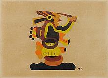 MIGUEL COVARRUBIAS, (Mexican, 1904-1957), Figura Prehispanica, Gouache on board, H 15 x W 20½ inches