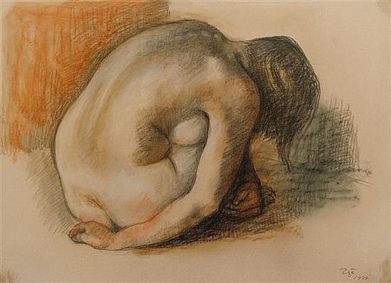 FRANCISCO ZUÑIGA, (Mexican, 1912-1998), Mujer Reclinada, 1979, Crayon on paper, H 19½ x W 26¾ inches