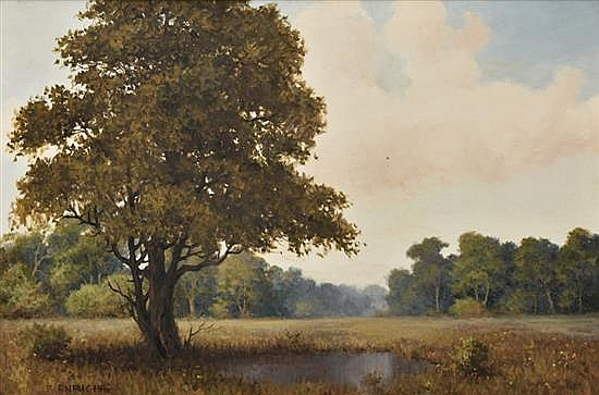 ROLAND D. ENRIGHT, (American, 1921-1983), Landscape, Oil on canvas, H 23½ x W 35½ inches.