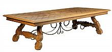 A SPANISH PROVINCIAL STYLE TRESTLE TABLE