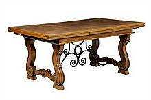 A SPANISH PROVINCIAL STYLE EXTENSION DINING TABLE