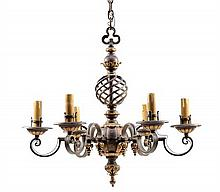 A GOTHIC REVIVAL WROUGHT IRON SIX-LIGHT CHANDELIER